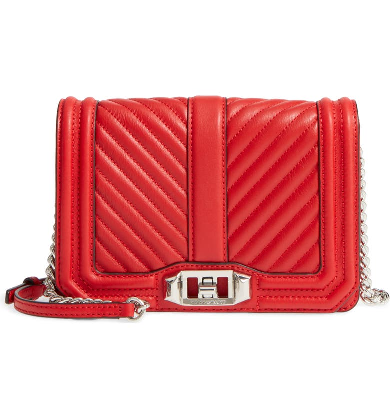 REBECCA MINKOFF Small Love Quilted Leather Crossbody Bag, Main, color, CARNATION RED