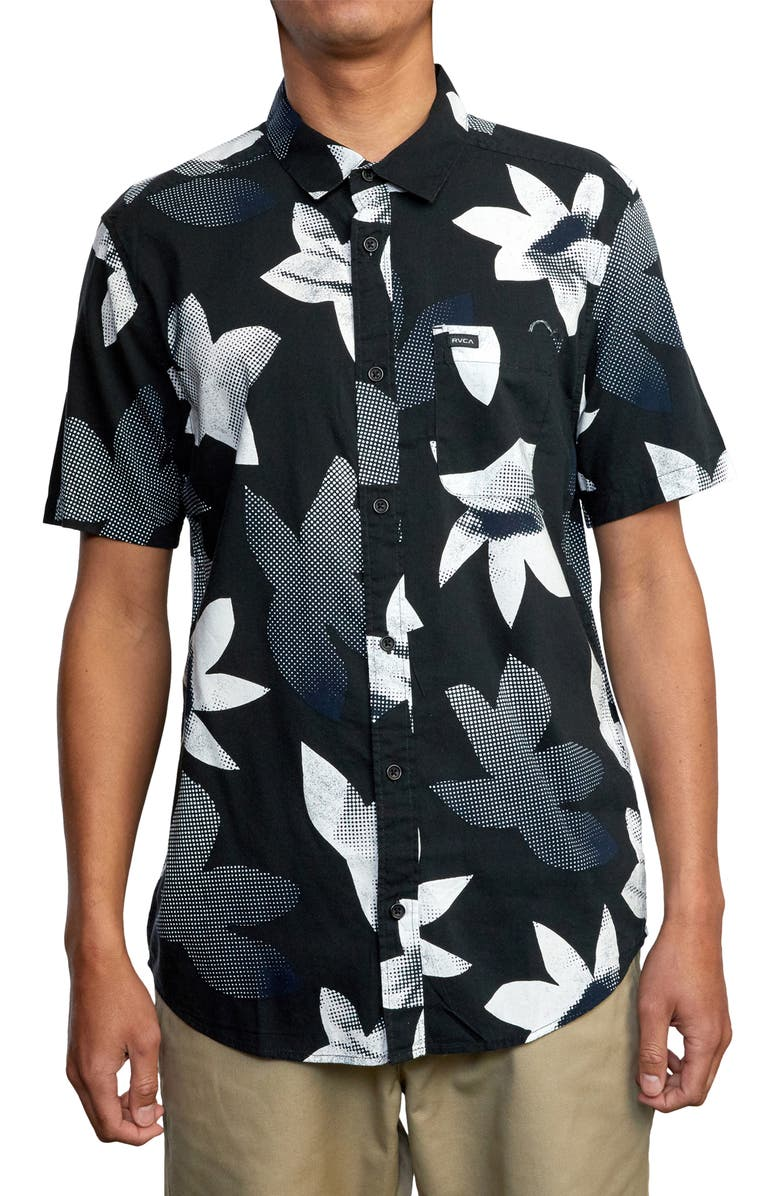 RVCA Halftone Pack Short Sleeve Button-Up Shirt, Main, color, Black