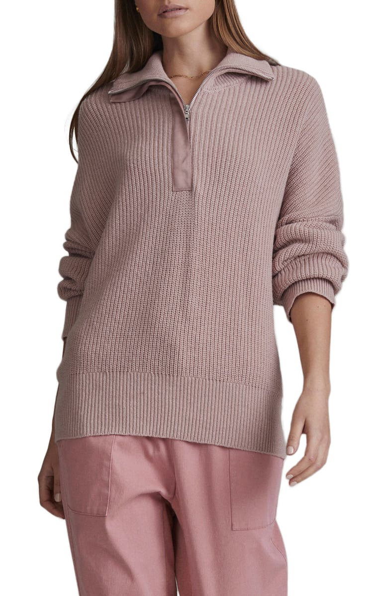 VARLEY Axtell Half Zip Sweater, Main, color, PALE BLUSH