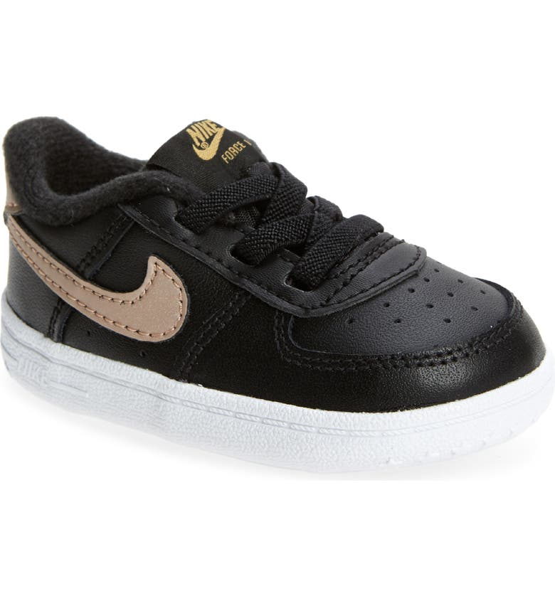 NIKE Air Force 1 Sneaker, Main, color, BLACK/ METALLIC BRONZE/ PINK