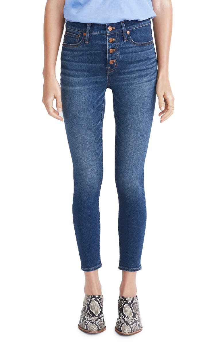 MADEWELL Button Front Crop Skinny Jeans, Main, color, 400