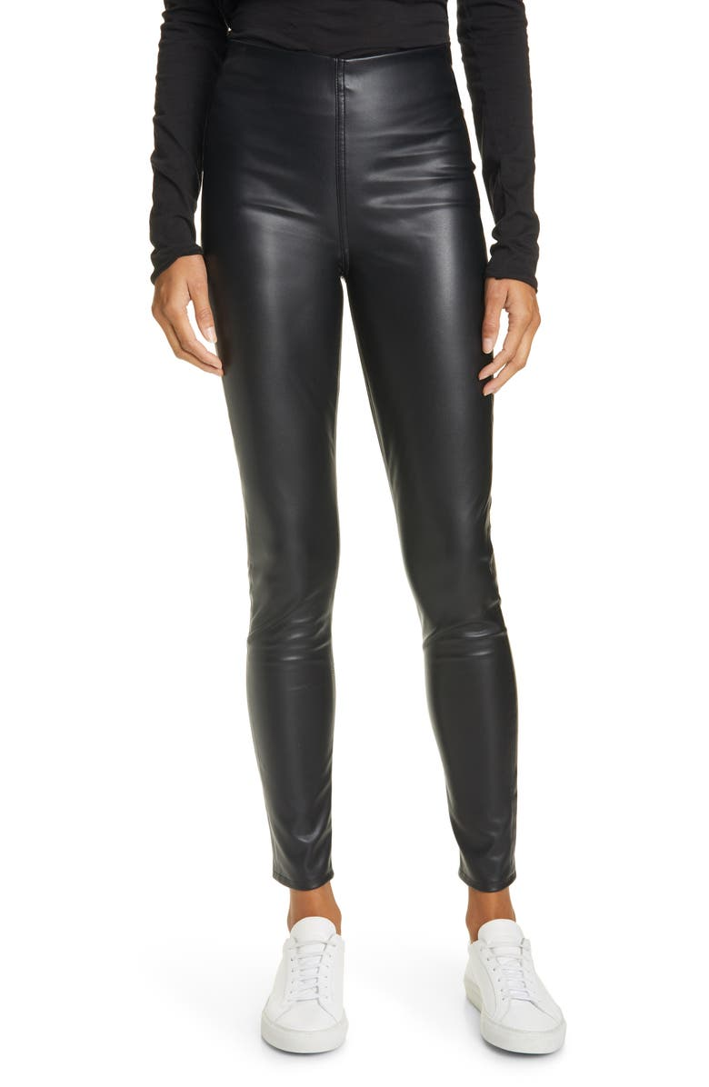 RAG & BONE Nina High Waist Pull On Faux Leather Skinny Pants, Main, color, BLACK
