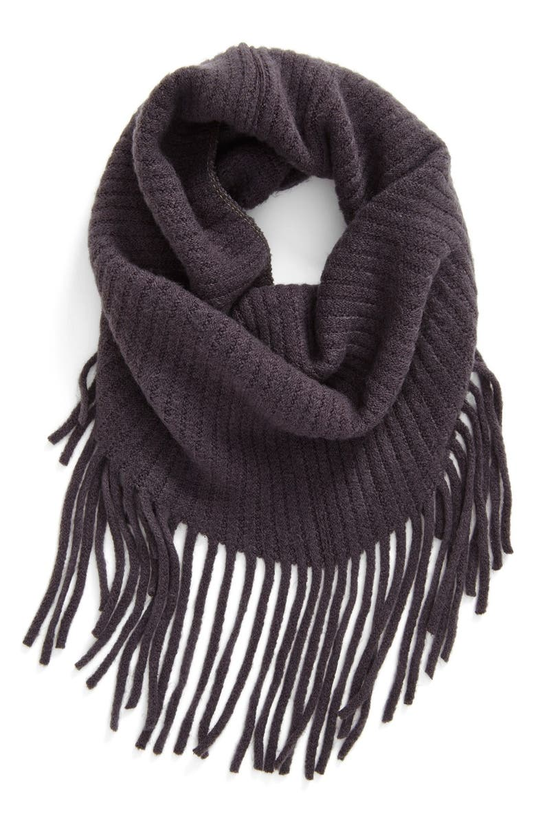 BP. Fringe Infinity Scarf, Main, color, CHARCOAL