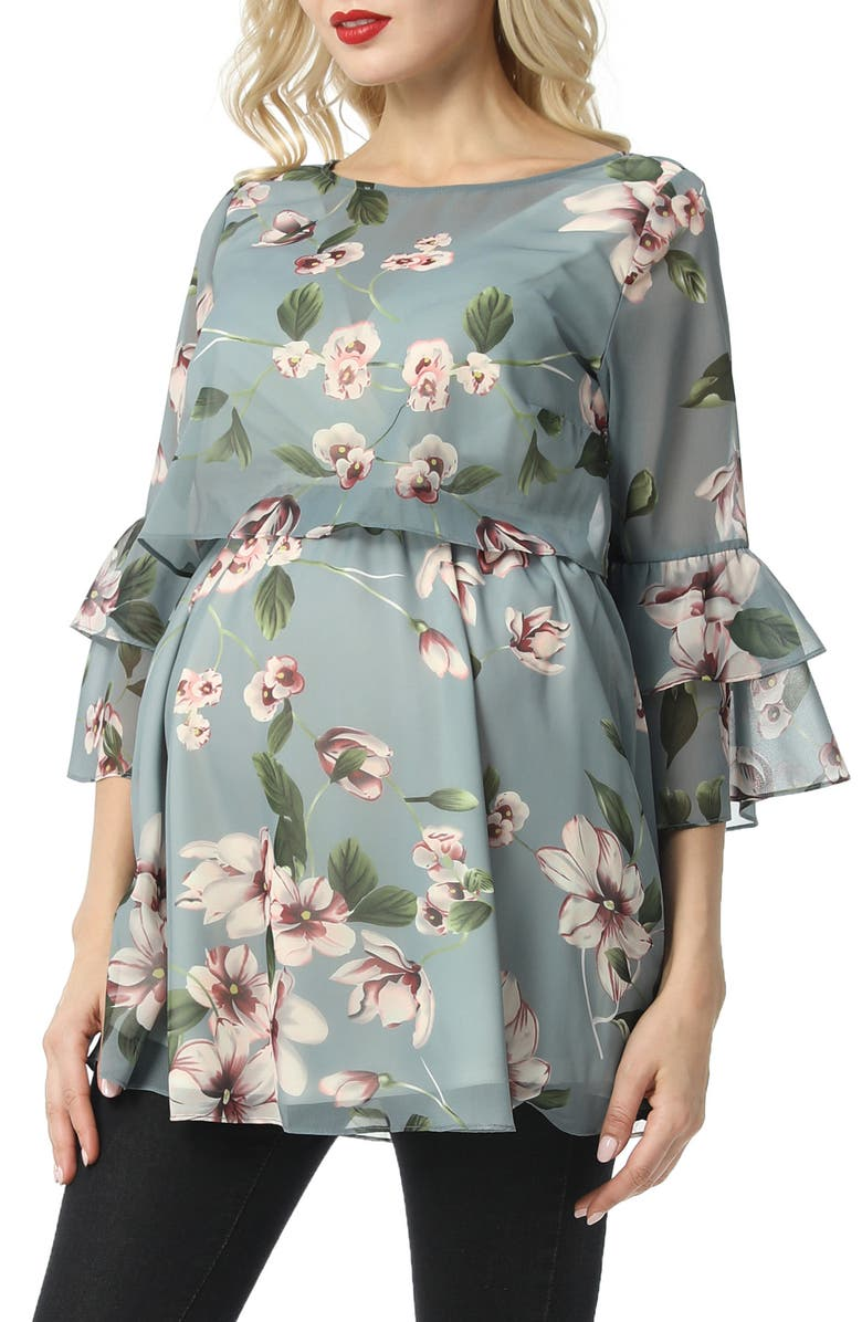 KIMI AND KAI Audrey Floral Maternity/Nursing Popover Blouse, Main, color, MULTICOLORED