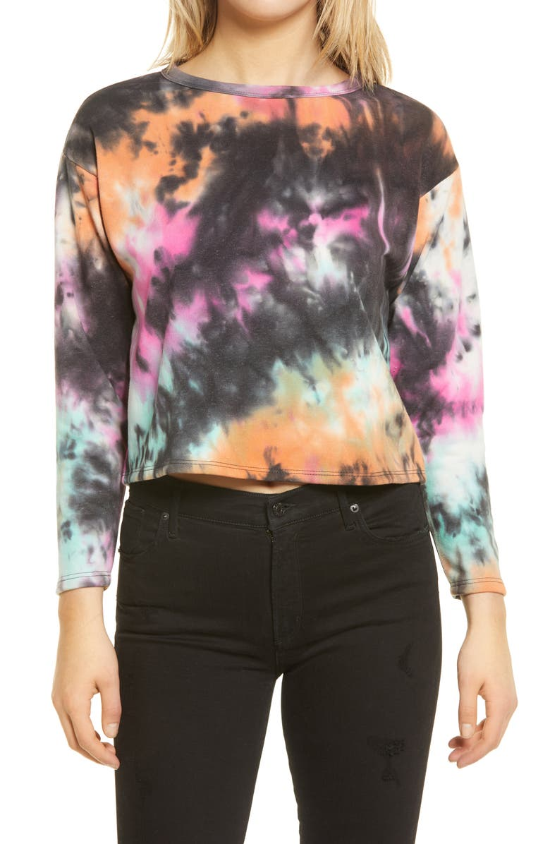 ALL IN FAVOR French Terry Tie Dye Sweatshirt, Main, color, PINK ORG CAR TIE DYE