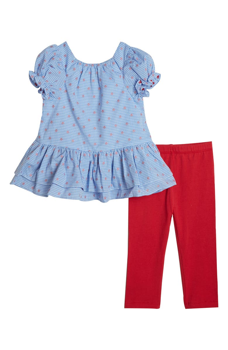 PIPPA & JULIE Peplum Top & Leggings Set, Main, color, NAVY/ WHITE/ RED