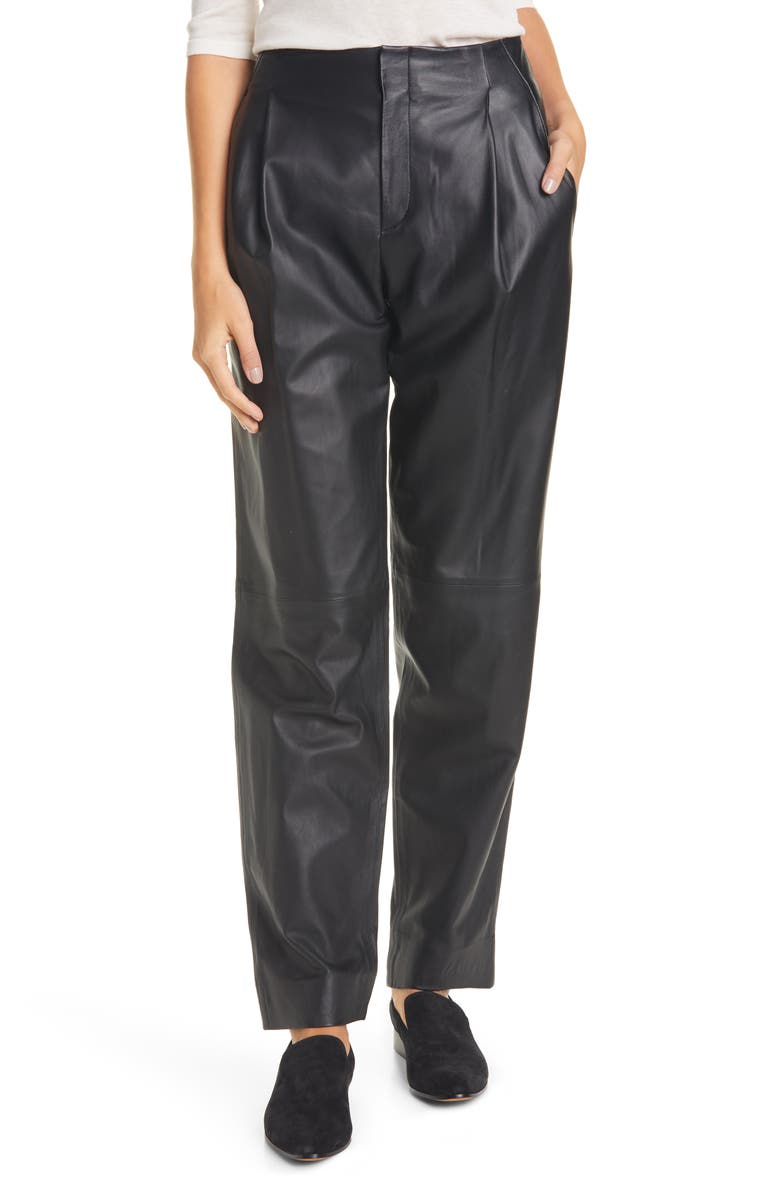 VINCE Pleat Front Tapered Leather Trousers, Main, color, BLACK