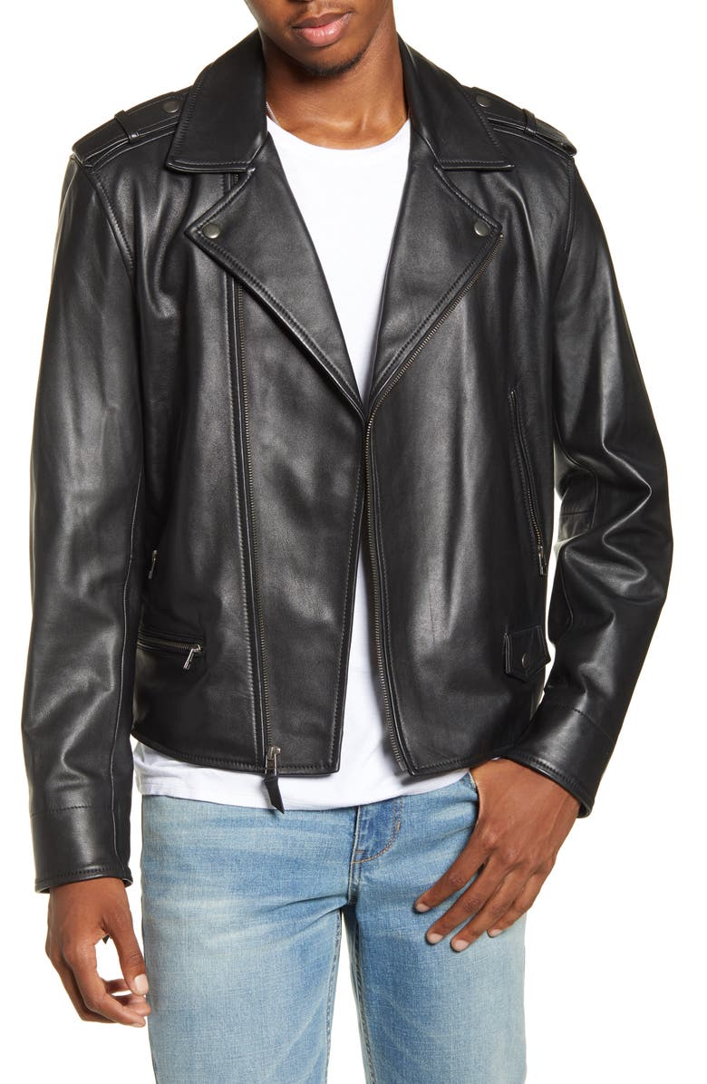 BP. x Alex Costa Leather Moto Jacket, Main, color, 001