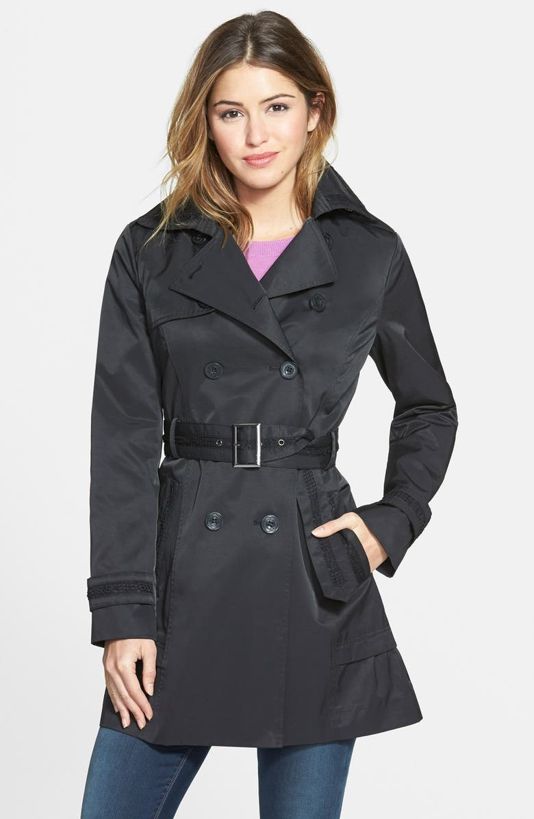 JESSICA SIMPSON Skirted Double Breasted Trench Coat, Main, color, Black