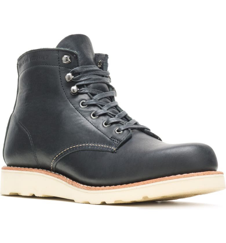 WOLVERINE 1000 Mile Wedge Boot, Main, color, BLACK LEATHER
