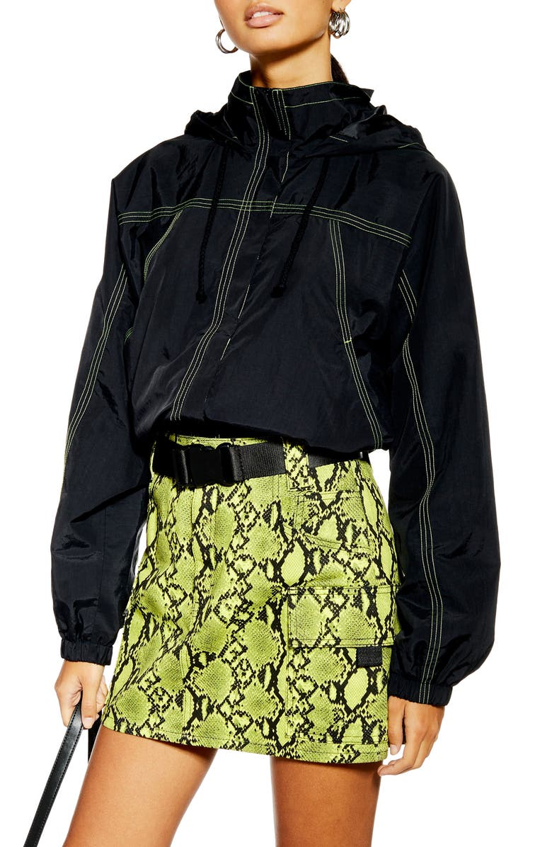 TOPSHOP Contrast Stitch Hooded Windbreaker, Main, color, 001