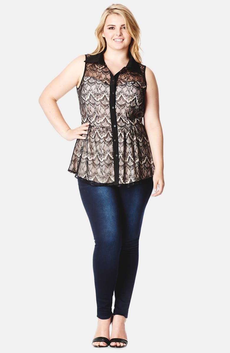 CITY CHIC Lace Overlay Peplum Shirt, Main, color, 280