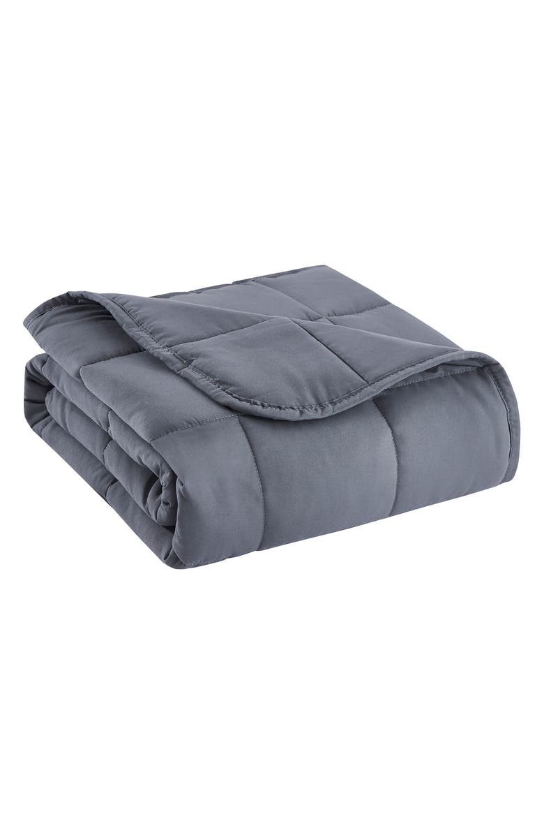 BON VOYAGE 5lb. Gray Microfiber Weighted Travel Throw, Main, color, GREY