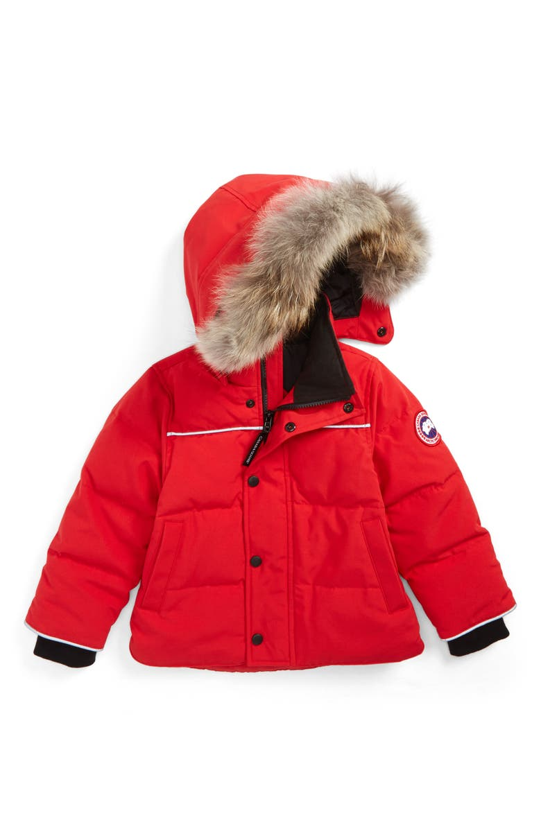 CANADA GOOSE Snowy Owl Down Parka with Genuine Coyote Fur Trim, Main, color, RED