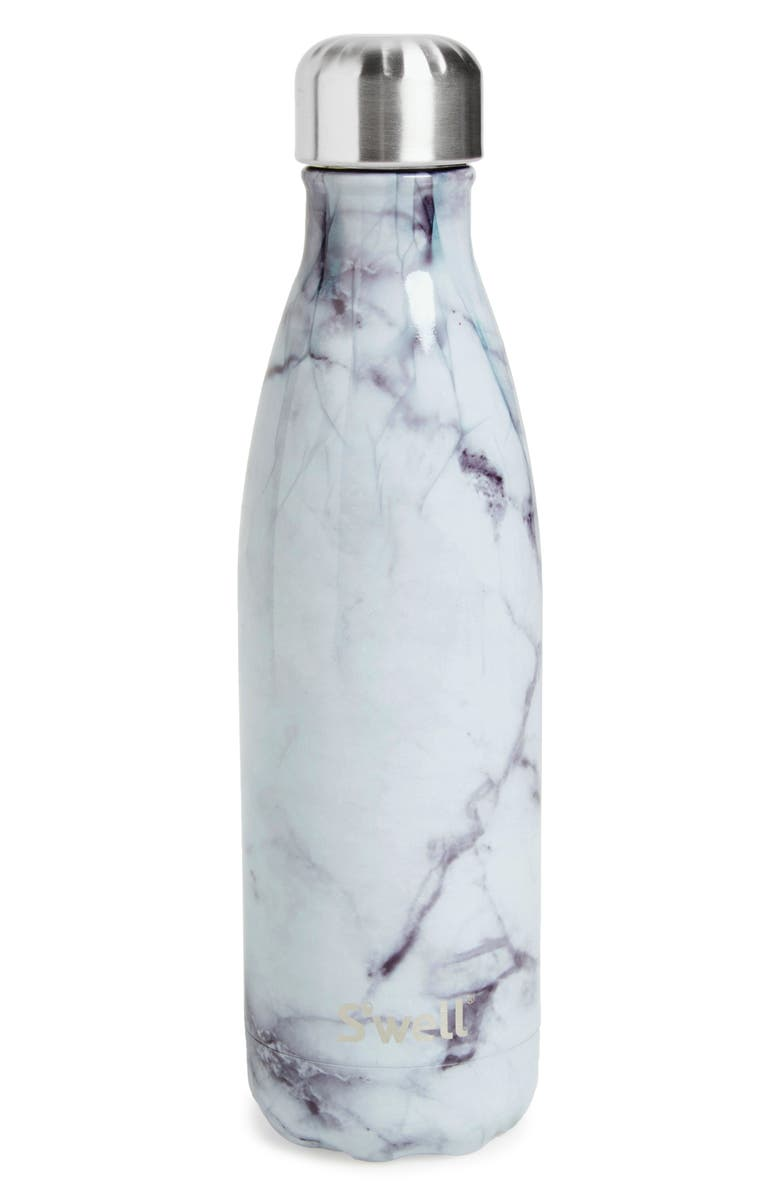S'WELL Elements Collection White Marble Insulated Stainless Steel Water Bottle, Main, color, WHITE MARBLE