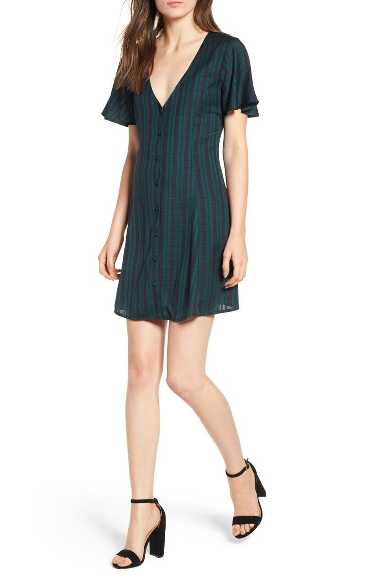 BP. Plaid Button Front Dress, Main, color, GREEN BOTANICAL SMALL CHECK
