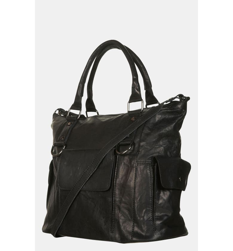 TOPSHOP Leather Crossbody Bag, Main, color, 001