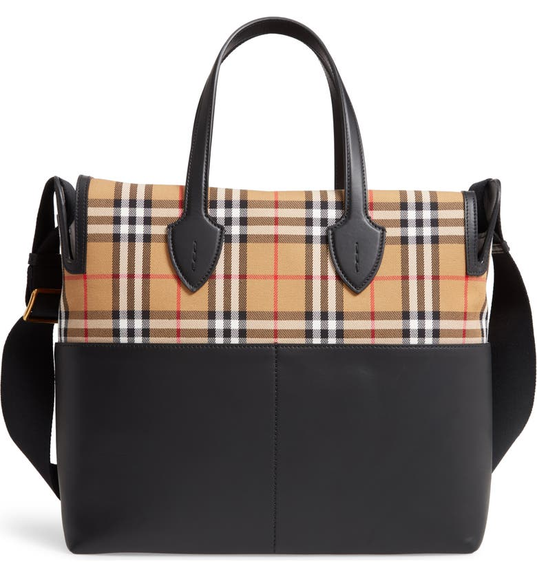 BURBERRY Kingswood Vintage Check & Leather Diaper Tote, Main, color, 001