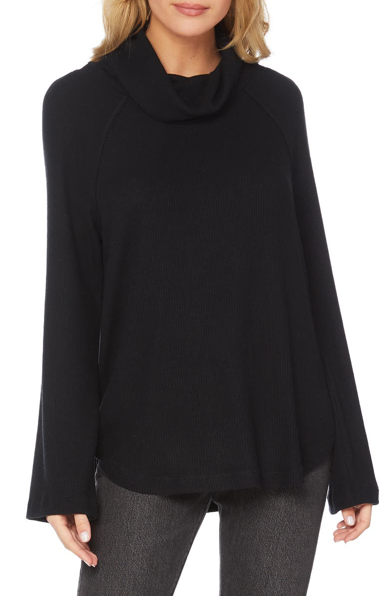 MICHAEL STARS Ribbed Turtleneck Top, Main, color, 001