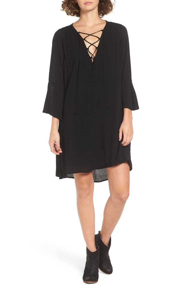ALL IN FAVOR Lace-Up Shift Dress, Main, color, BLACK