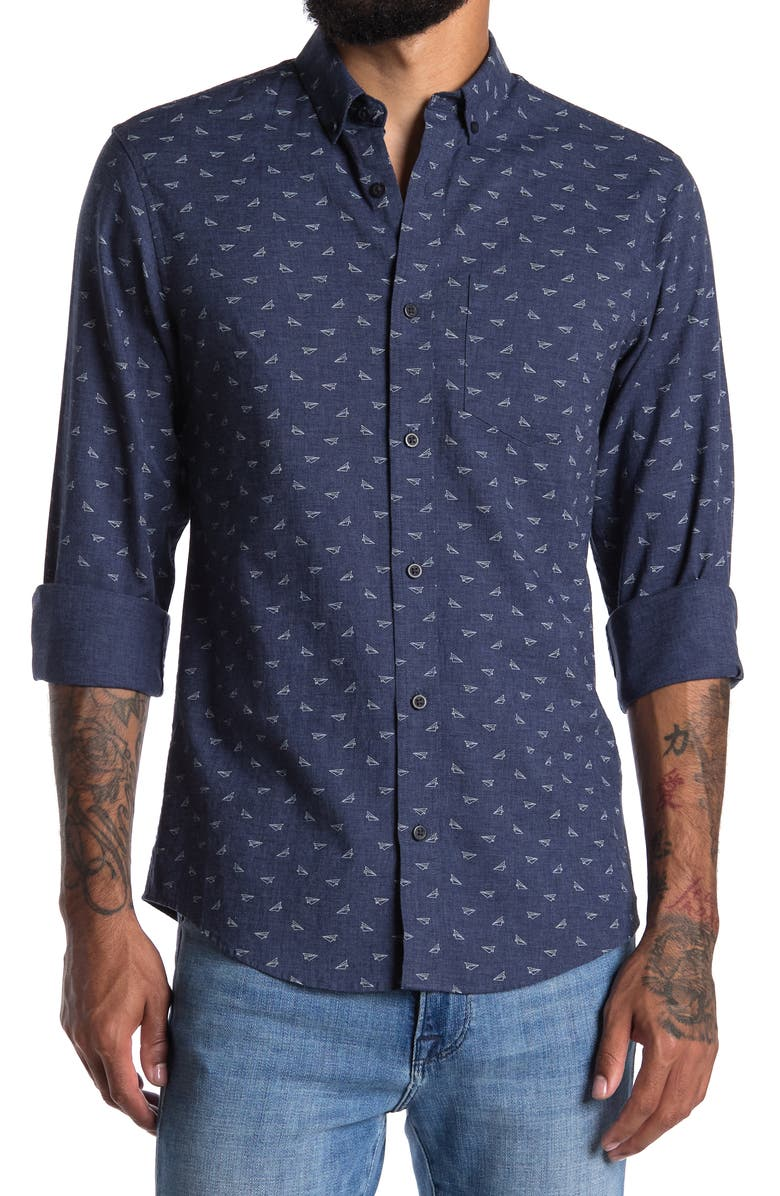 14TH AND UNION Plaid Print Long Sleeve Shirt, Main, color, NAVY HTHR PAPER PLANES