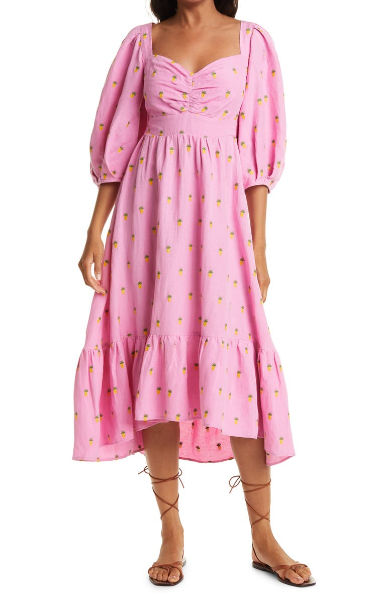 FARM RIO Embroidered Pineapples Midi Dress, Main, color, PINK