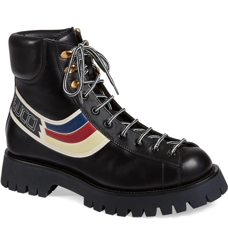 GUCCI Web Hiking Boot, Main, color, 001