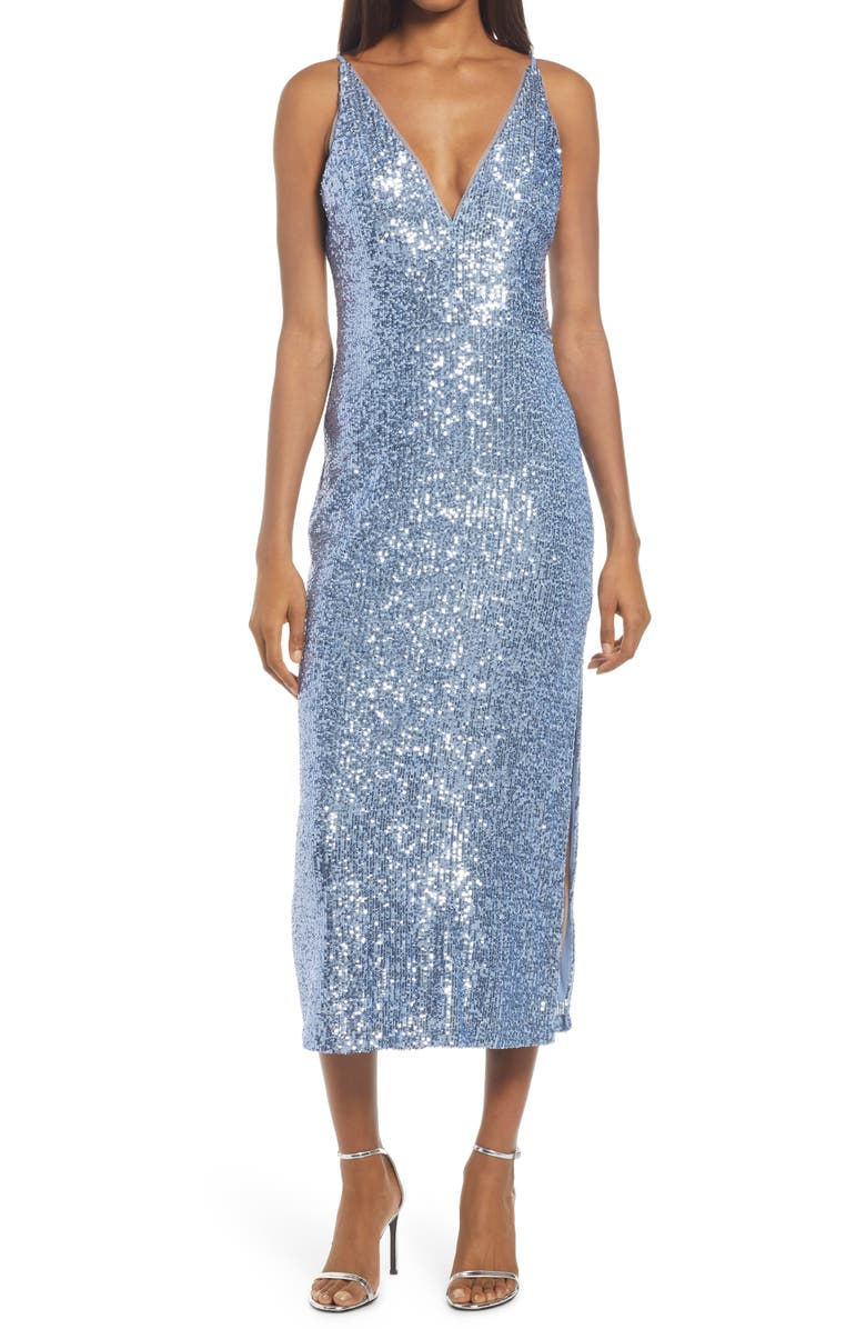 XSCAPE Sleeveless Sequin Dress, Main, color, PERIWINKLE