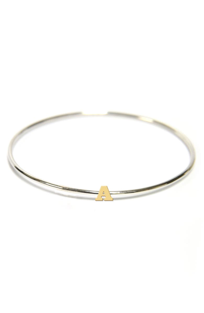 JANE BASCH DESIGNS Two-Tone Initial Bangle, Main, color, GOLD- A