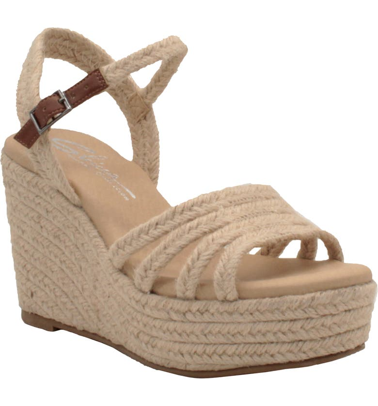SBICCA Blessing Wedge Sandal, Main, color, NATURAL FABRIC