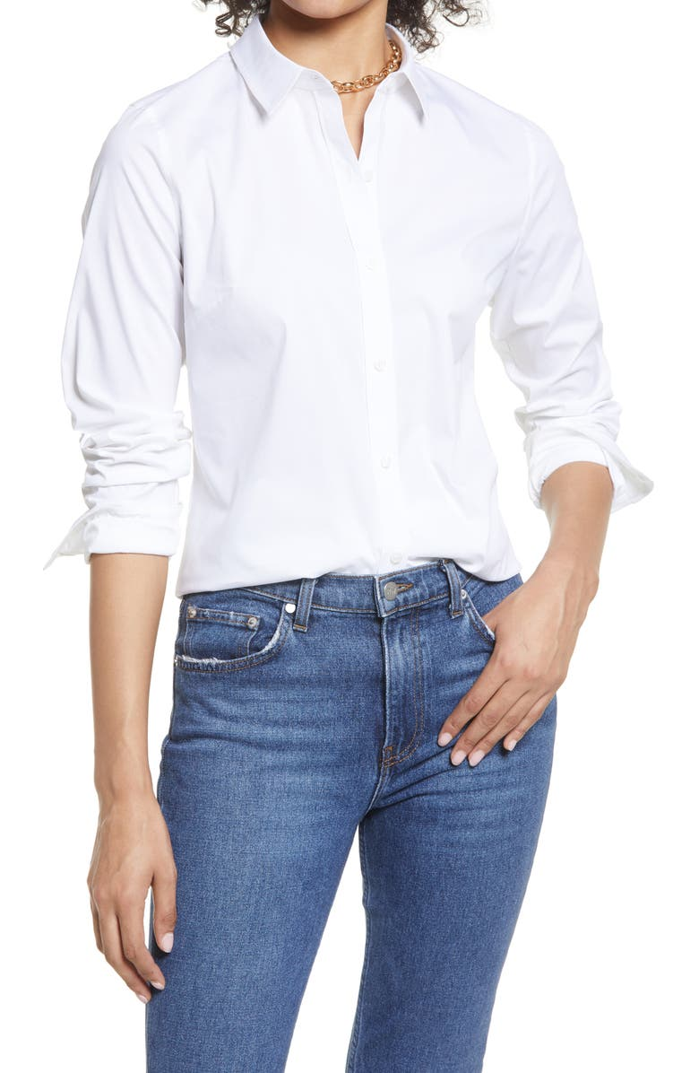 HALOGEN<SUP>®</SUP> Classic Button-Up Shirt, Main, color, WHITE
