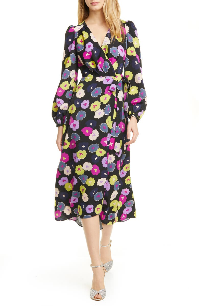 KATE SPADE NEW YORK winter garden long sleeve wrap dress, Main, color, 001