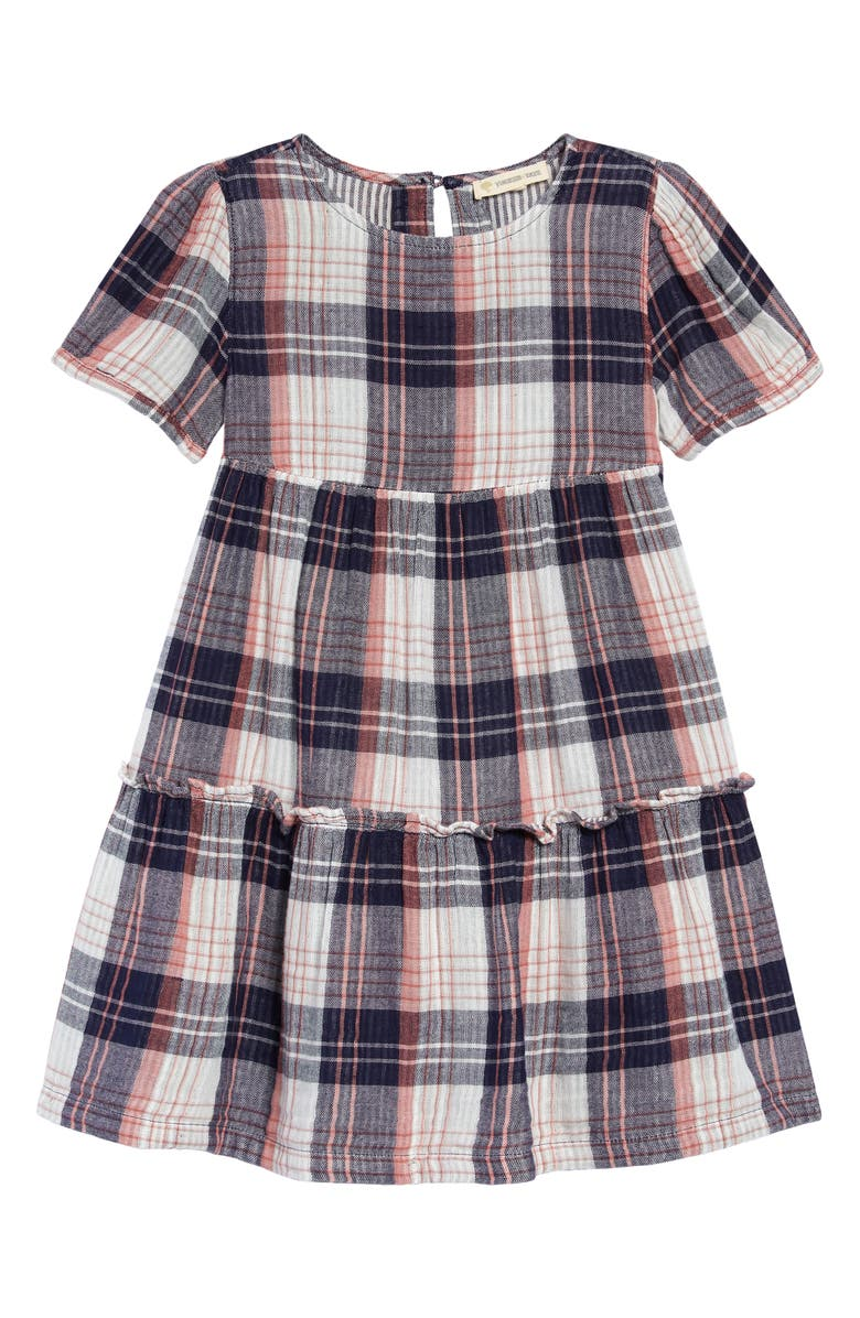 TUCKER + TATE Kids' Double Plaid Tiered Dress, Main, color, NAVY PEACOAT JOUJOUX PLAID