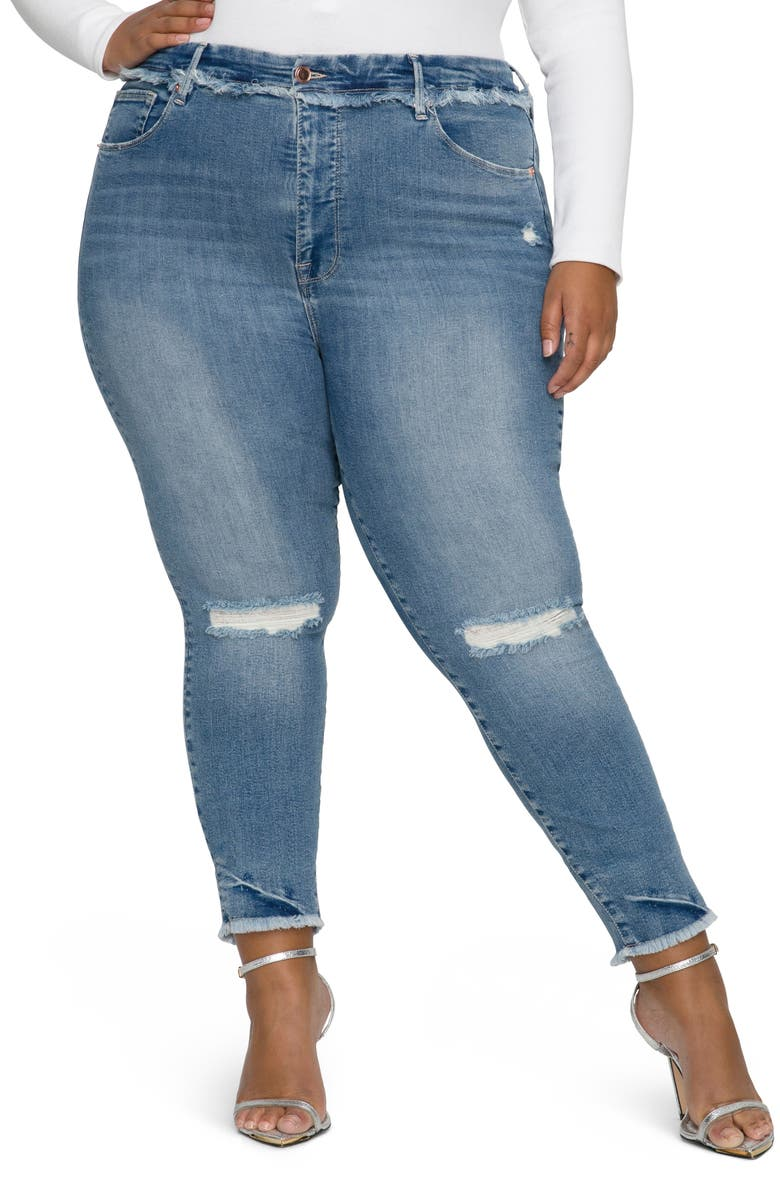 GOOD AMERICAN Good Legs Distressed High Waist Frayed Skinny Jeans, Main, color, BLUE612