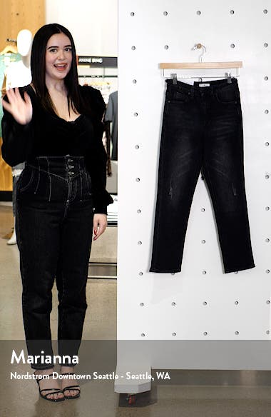 High Waist Crop Straight Leg Jeans, sales video thumbnail
