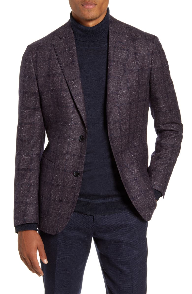 NORDSTROM SIGNATURE Trim Fit Windowpane Wool Sport Coat, Main, color, 938