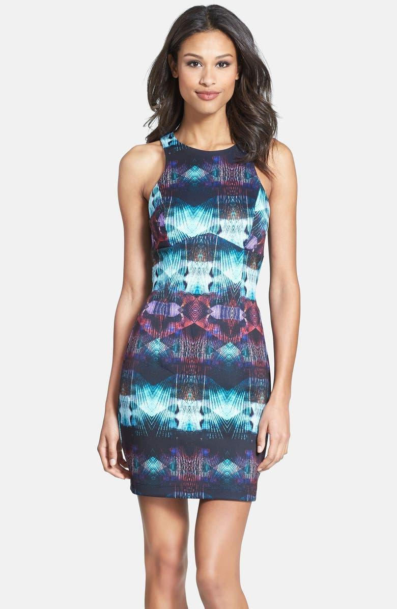 CHARLIE JADE Print Stretch Knit Body-Con Dress, Main, color, 010