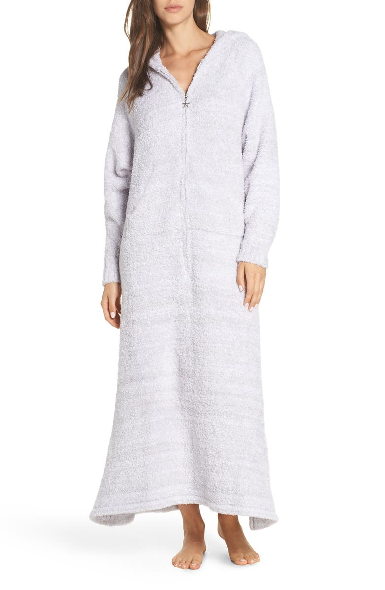 BAREFOOT DREAMS<SUP>®</SUP> CozyChic<sup>™</sup> Hooded Zip Robe, Main, color, OYSTER/ WHITE