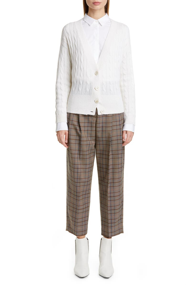 BRUNELLO CUCINELLI Prince of Wales Check Crop Trousers, Main, color, 200