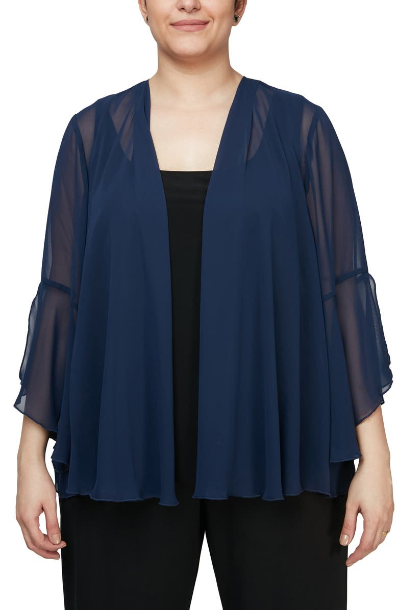 ALEX EVENINGS Bell Sleeve Chiffon Cover-Up Jacket, Main, color, NAVY