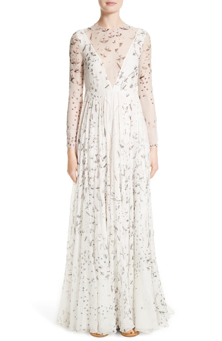 VALENTINO Swallow Print Silk Gown, Main, color, 901