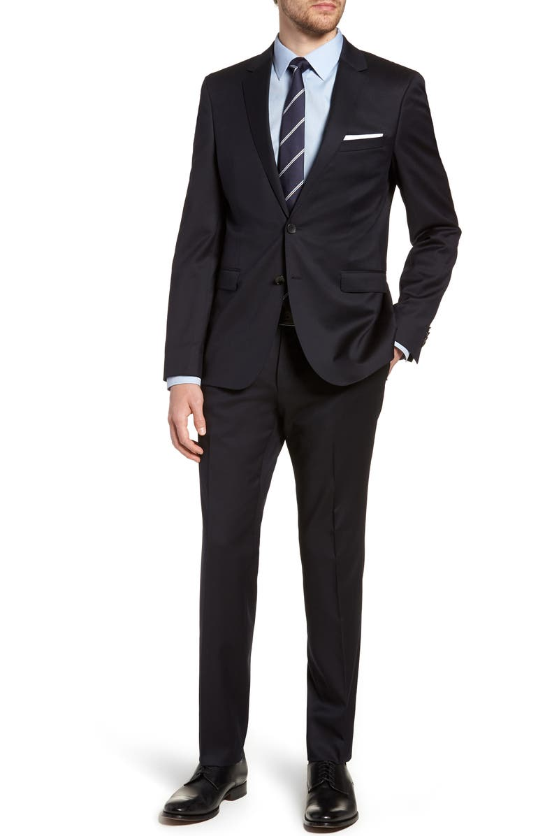 BOSS Ryan/Win Extra Trim Fit Solid Wool Suit, Main, color, 410