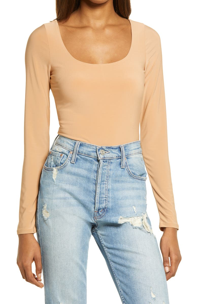 LEITH Double Scoop Long Sleeve Thong Bodysuit, Main, color, TAN BIRCH