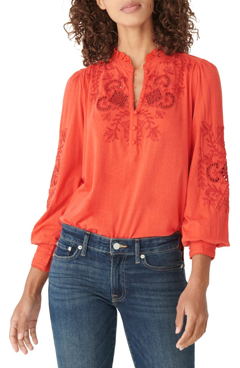 LUCKY BRAND Floral Embroidered Knit Top, Main, color, MOLTEN LAVA