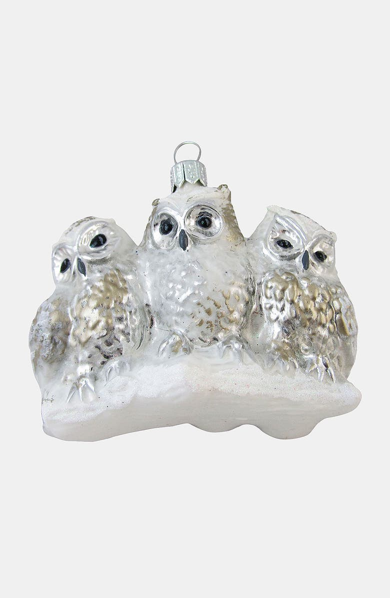 NORDSTROM at Home 'Antique Owl' Ornament, Main, color, SILVER