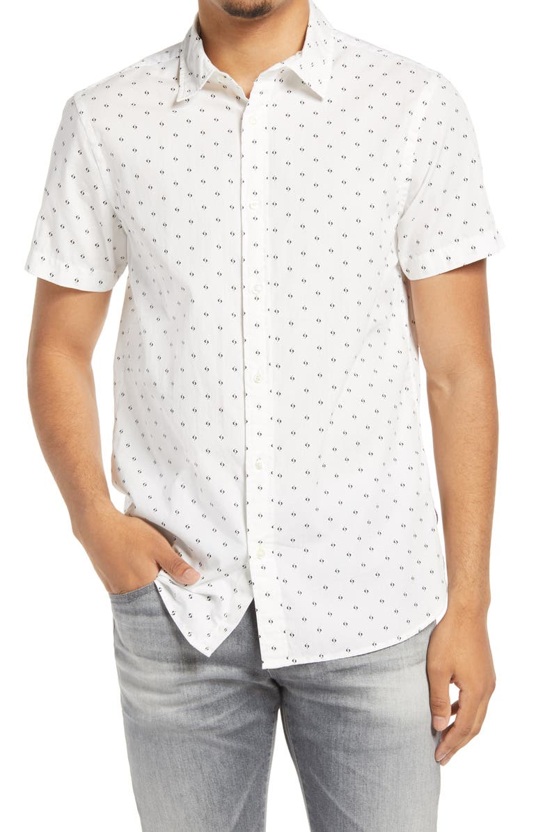 SCOTCH & SODA Classic Fit Short Sleeve Button-Up Shirt, Main, color, WHITE