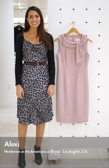 Drape Tie Neck Sheath Dress, sales video thumbnail