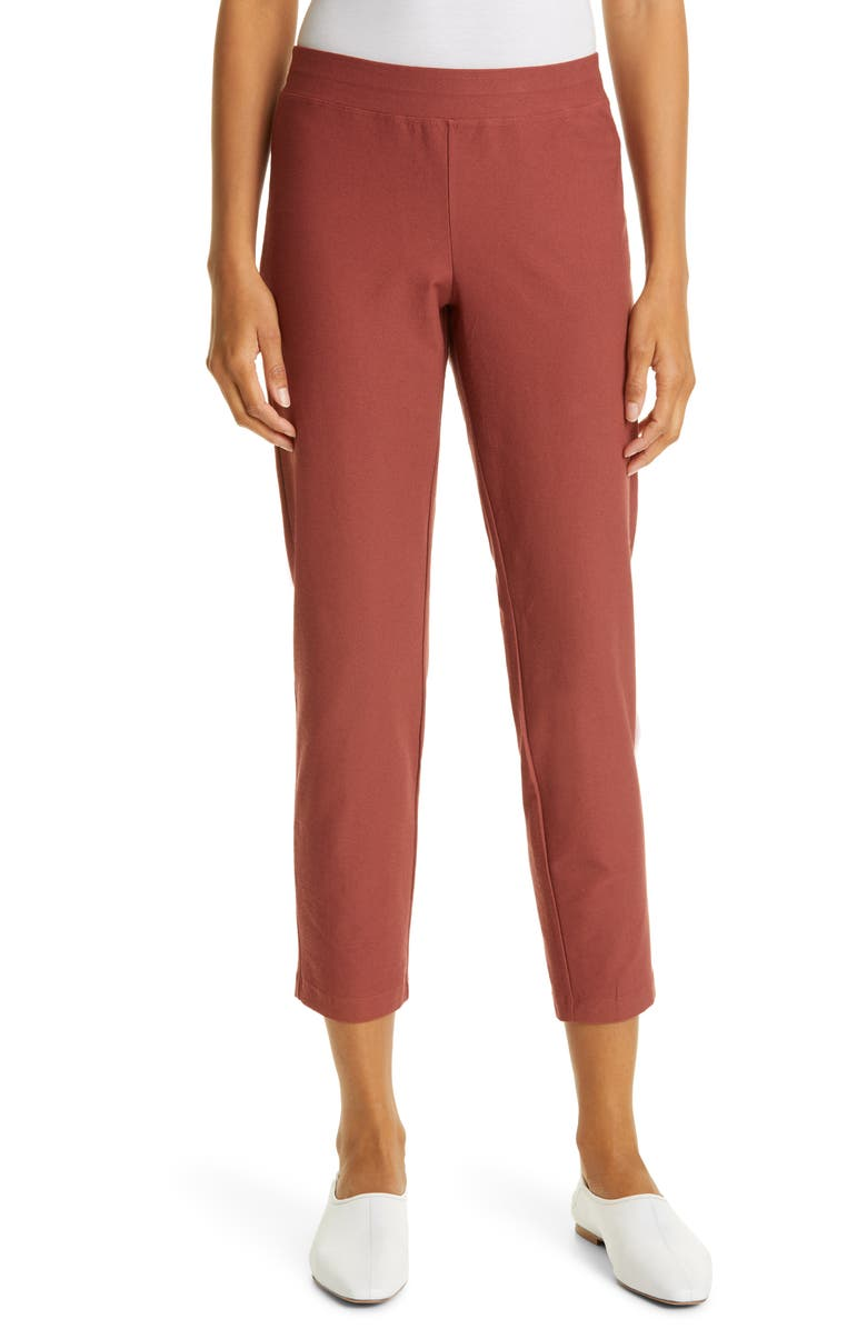 EILEEN FISHER Slim Ankle Pants, Main, color, RED