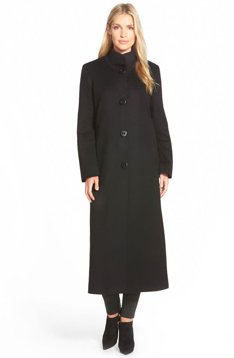 FLEURETTE Cashmere Long Stand Collar Coat, Main, color, 001