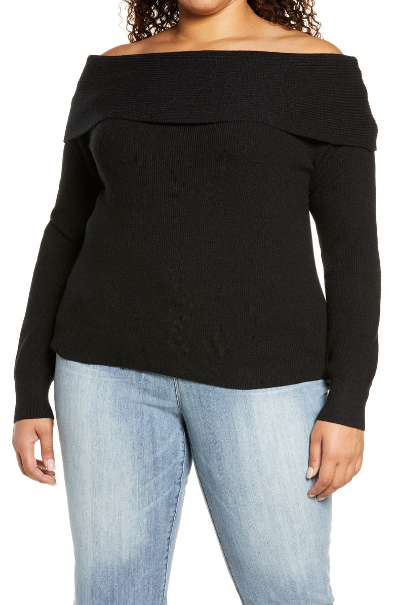 LEITH Off the Shoulder Sweater, Main, color, 001